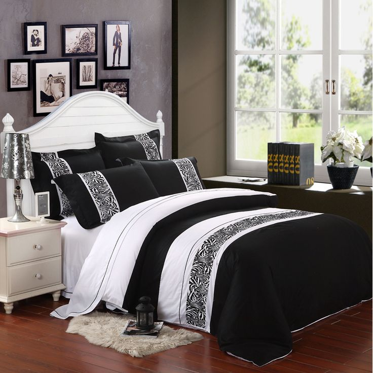 classic white black embroidery bedding set bed sheet set duvetquilt cover bedspread bedclothes bed