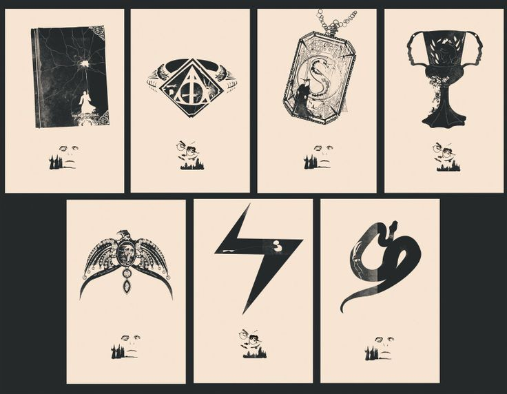 series of harry potter prints depicting all the horcrux's