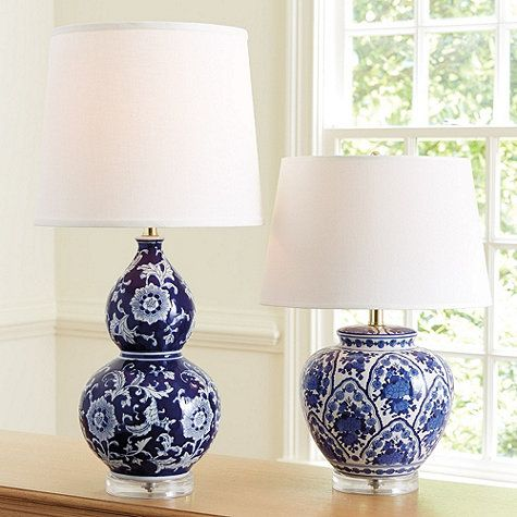 Our Blue And White Double Gourd Table Lamp Is Crafted Of Ceramic With
