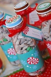 Cute idea for office Christmas gifts,or multiple family members.Can use smaller baby food jars.  *wrapping paper border.  *small grosgrain 1/3 inch ribbon or satin hand tied bow.  *Printed tags.  *any small loose candies,m could do or nuts.(be mindful of food allergies)
