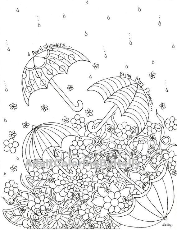 Coloring Page April Showers Bring May Flowers Printable Etsy Coloring Pages Valentine Coloring Pages Flower Coloring Pages