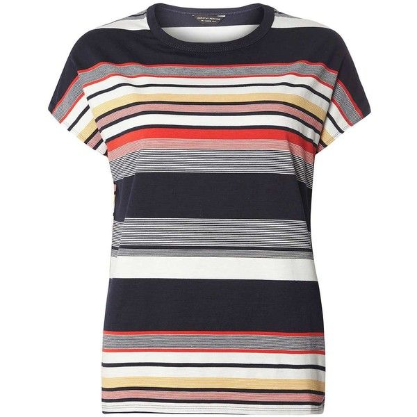 Dorothy Perkins Multi Coloured Stripe Ovoid T-Shirt (569.400 VND) ❤ liked on Polyvore featuring tops, t-shirts, blue, blue t shirt, short sleeve tee, multi color t shirts, striped top and stripe top