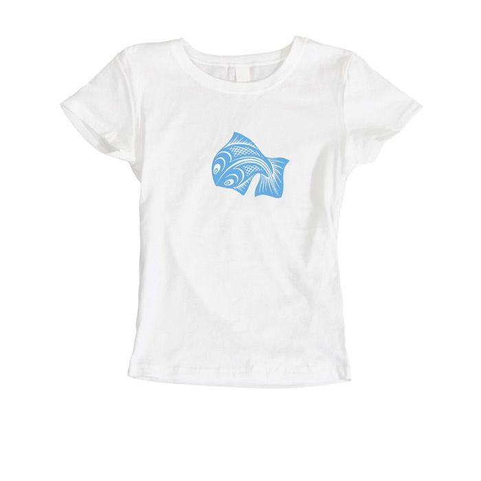 Esher - Fish (woman's t-shirt) Light Blue on White