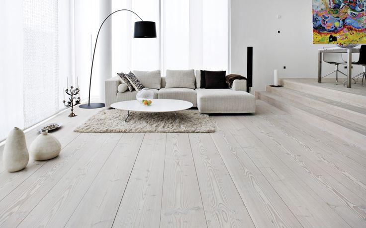 Scandinavian grey wooden floor with fewer larger planks (rather than more thinner ones). Shade of grey TBD.