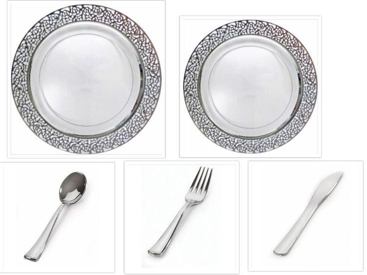 White w/Silver Lace China-like Plastic Plates Cutlery Set 500 Pieces Wedding #Inspiration #Wedding