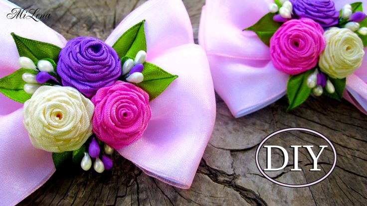 Бантики с Розами, МК / DIY Ribbon Bows with Rolled Roses