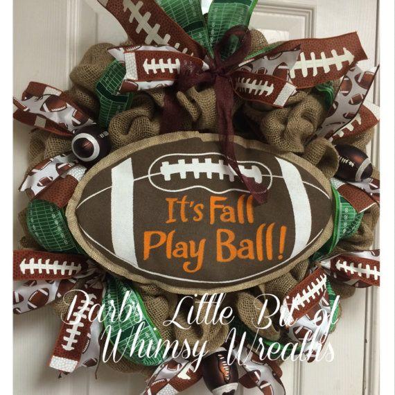 It's Fall Play Ball Wreath Football Wreath by lilbitofwhimsywreath