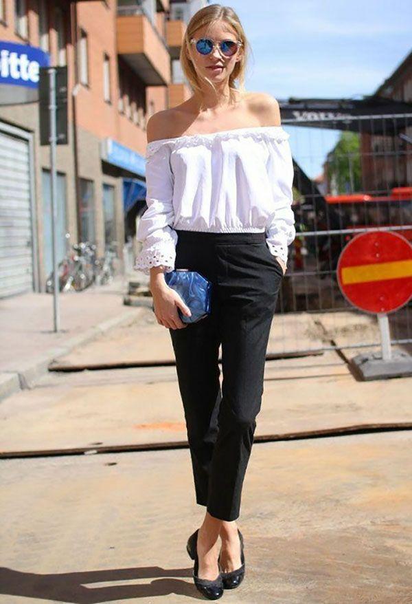 Look estiloso para o office look com blusa ombro a ombro e calça de alfaiataria