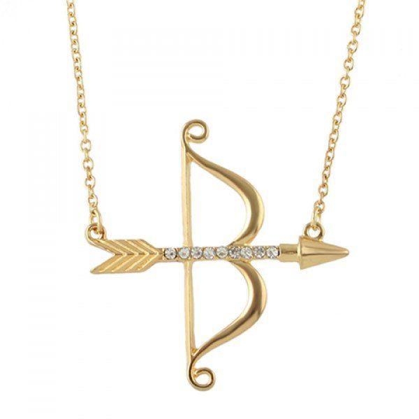 Chic Rhinestone Bow Arrow Shape Necklace For Women #jewelry, #women, #men, #hats, #watches