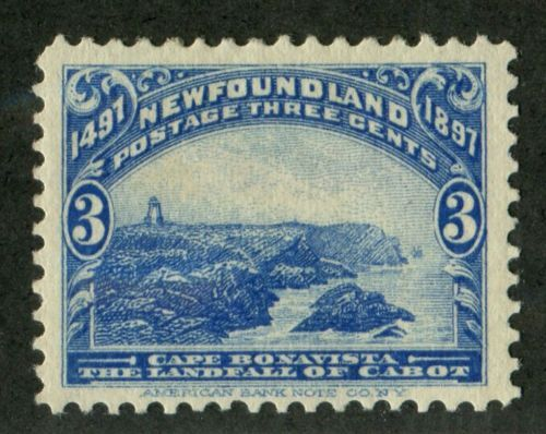Newfoundland-63-3c-Ultramarine-Cape-Bonavista-1897-John-Cabot-Issue-VF-80-OG