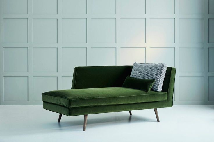 Tallulah Modern Chaise in Green Velvet