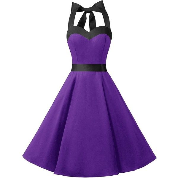 DRESSTELLS Vintage 1950s Rockabilly Polka Dots Audrey Dress Retro... (79 BRL) ❤ liked on Polyvore featuring dresses, vintage polka dot dress, homecoming dresses, vintage homecoming dresses, prom dresses and purple cocktail dresses