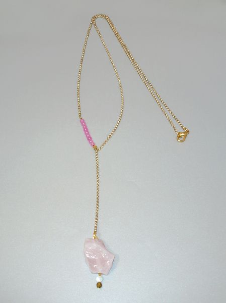 Pink Rough Crystal Drop Necklace from Fragkiski Jewellery & Accessories by DaWanda.com