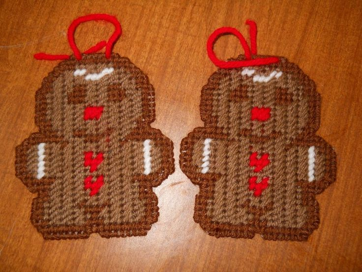 HANDMADE PLASTIC CANVAS GINGERBREAD ORNAMENTS SET OF TWO