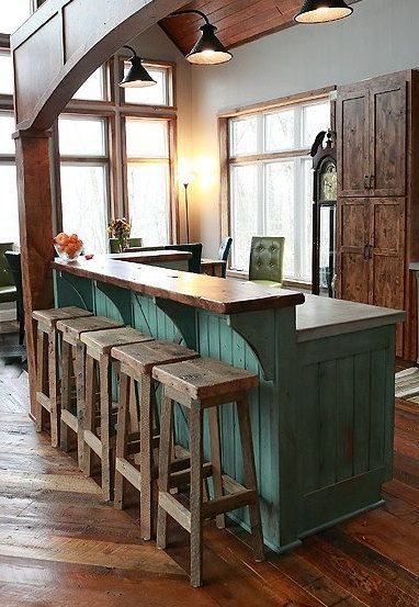 Rustic Reclaimed Wood Bar in cabin kitchen. Note the step-down counter.