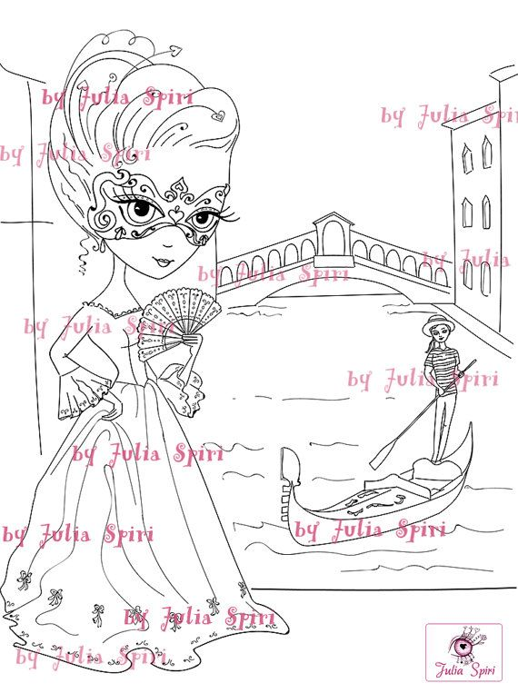 Digital Stamps, Digi stamp, Coloring pages, Girl stamp, Venice stamp, Mask stamp, Love, Romantic, Fantasy. The Venice Collection. Venice