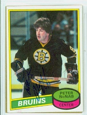 Peter McNab AUTO 1980-81 Topps Bruins by Regular Topps Issue. $5.00. This card was signed by Peter McNab and authenticated by JSA - a leading 3rd party authenticator