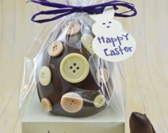 Milk Chocolate Easter Egg decorated with spots and milk