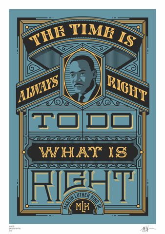 Inspirational quotes: Martin Luther King 'Time is right' poster