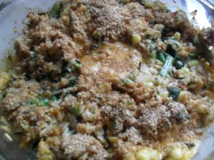 tempe and vegetable au gratin. This recipe requires a lot of alterations, would marinade the tempe, make a roux out of the milk, ex the rice, and add a Ton more spices.