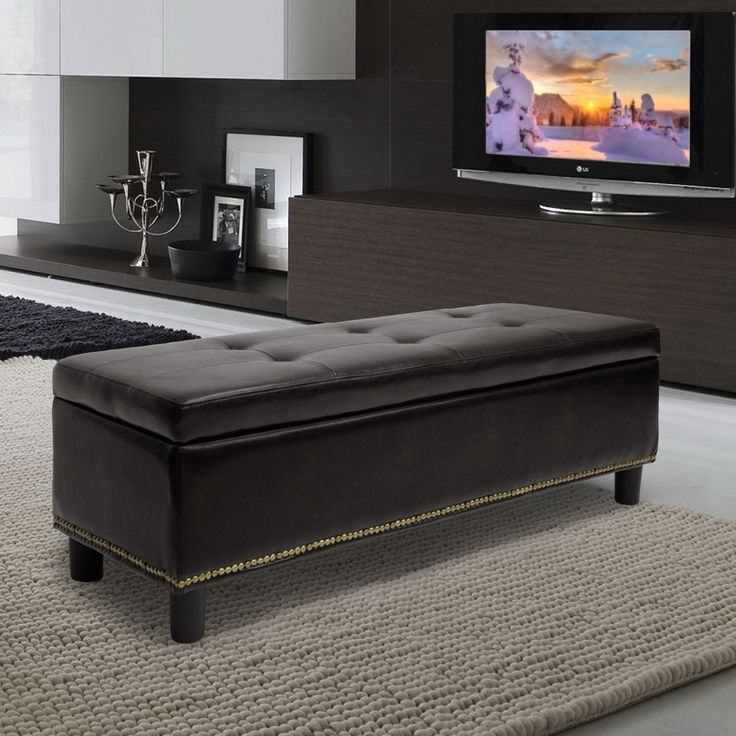 Baxton Studio Lucero Bonded Leather Storage Dark Brown Ottoman By Baxton  Studio