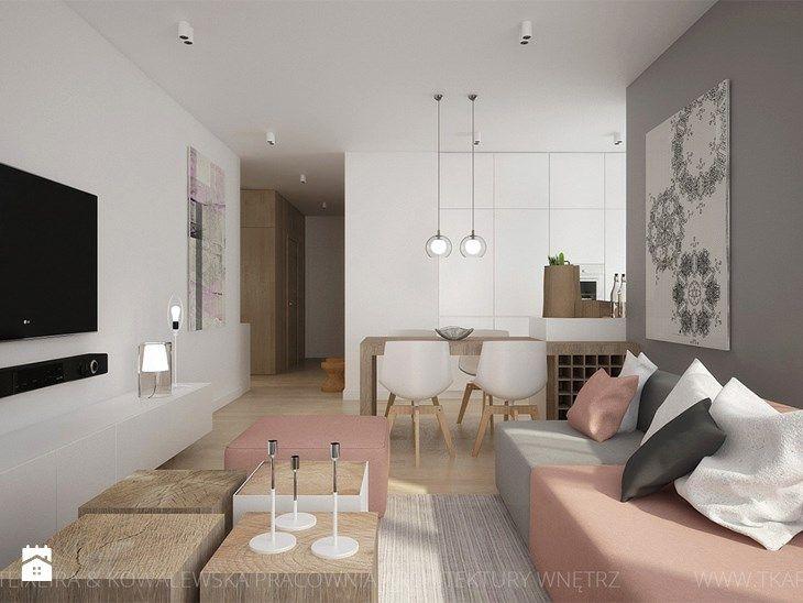 MIESZKANIE Z AKCENTAMI PUDROWEGO RÓŻU - Salon, styl nowoczesny - zdjęcie od TK Architekci