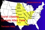 "FIAR 2 THREE NAMES activity: map of tornado alley (note approximate boundaries of Rocky Mountains, Mississippi River, and Appalachian Mountains); compare to states we call ""prairie"" to estimate the area the story takes place."