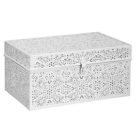 Buy John Lewis Cut Out Metal Work Box, White Online at johnlewis.com