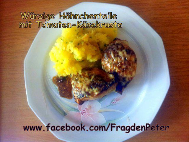 Würzige Hähnchenteile mit Tomaten-Käsekruste und Kartoffelschmarrn