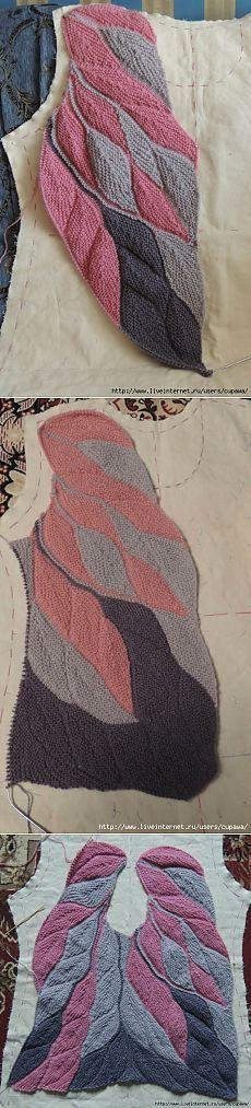 Интересный способ вязания спицами...перышки.