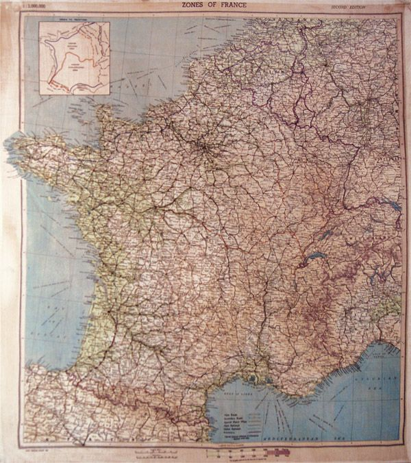 This well-used map of France is made of silk cloth, and maps of this sort were issued to officers in advance of the D-Day invasion of Norman...