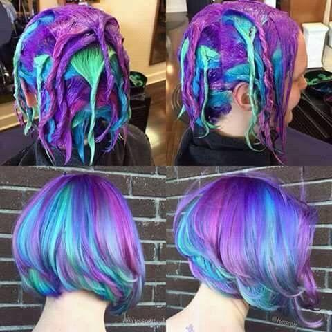 Purple green blue hair