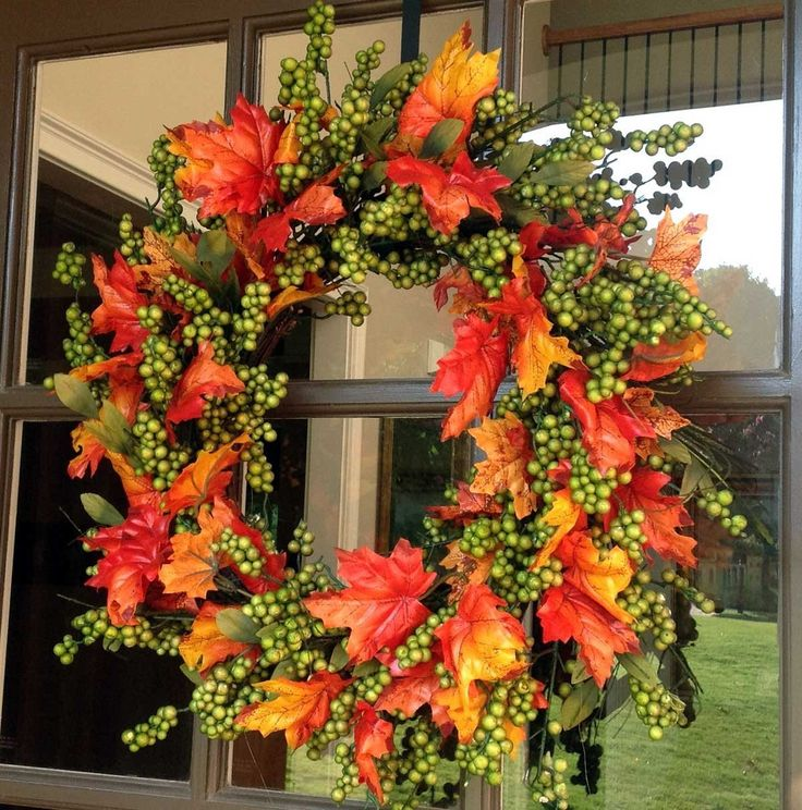 "- Beautiful 24"" Green Apple with Fall Leafs - This Artificial wreath is filled with clusters of berries small twigs and Fall Colored leaves - Suitable For Indoor or Covered Outdoor Use"