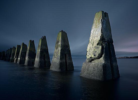 Submarine defense boom, Cramond Island, Edinburgh, Scotland.