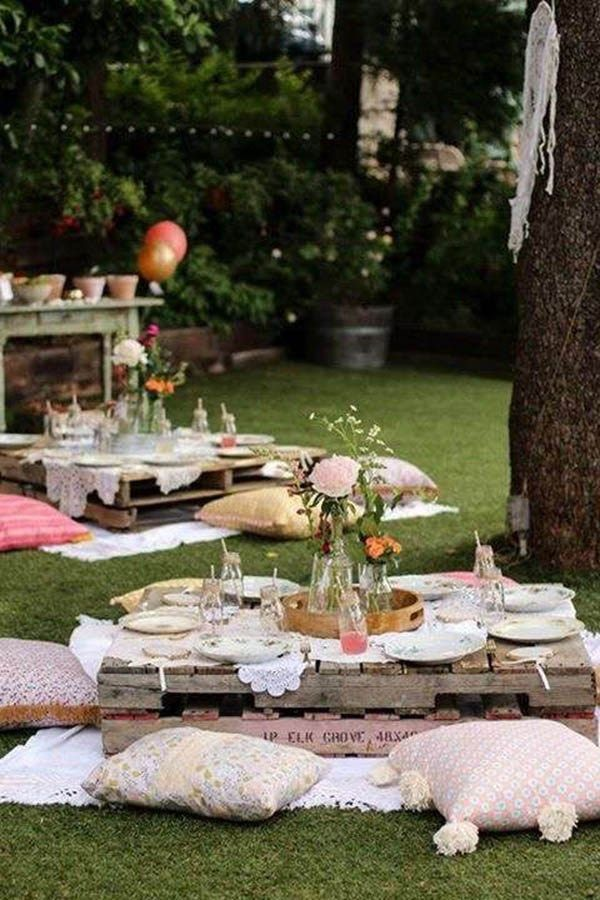 Lovely Boho themed outdoor party - See more amazing party trends for 2016 at B. Lovely Events!