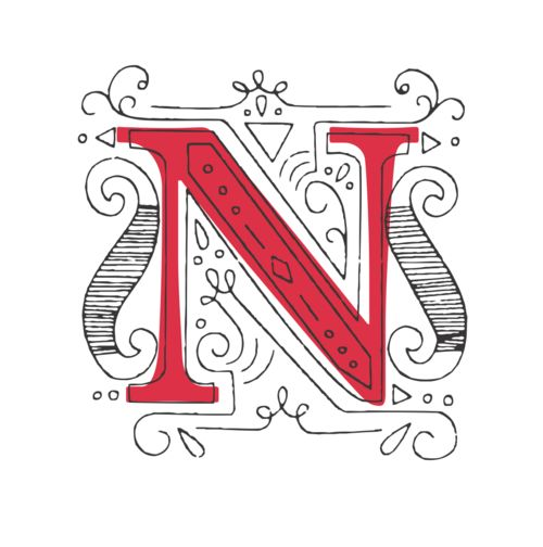 """N"" doodle type design"