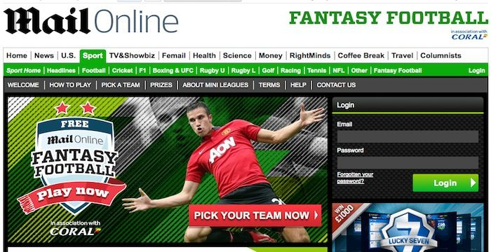 Daily Mail Fantasy Football Login