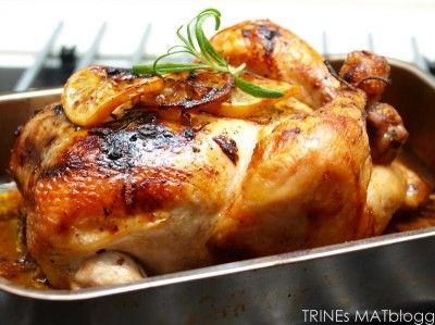 Rosmarinkylling med piperade og ovnsstekte mandelpoteter » TRINEs MATBLOGG