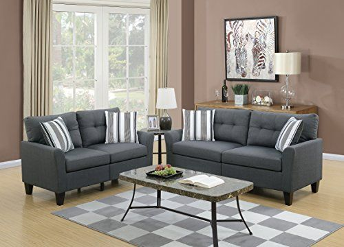 living room sofa loveseat tufted cushion charcoal polyfiber 2pc set rh pinterest com