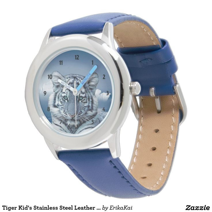 Tiger Kid's Stainless Steel Leather Strap Watch