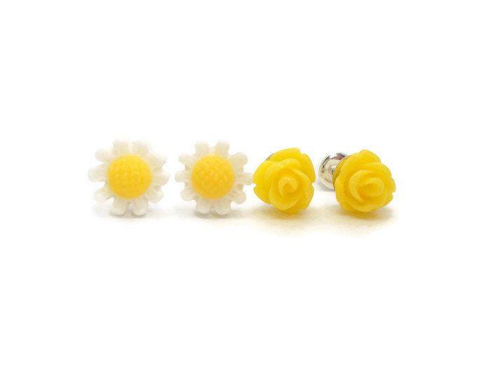 Tiny Stud Earrings Set, Daisy Earrings, Yellow Rose Earrings, Cute Spring & Summer Earrings, Small Stud Earrings for Sensitive Ears, Flower by foreverandrea on Etsy
