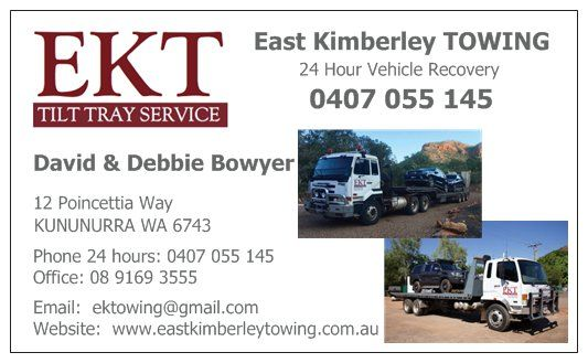 East Kimberley Towing business card 2016