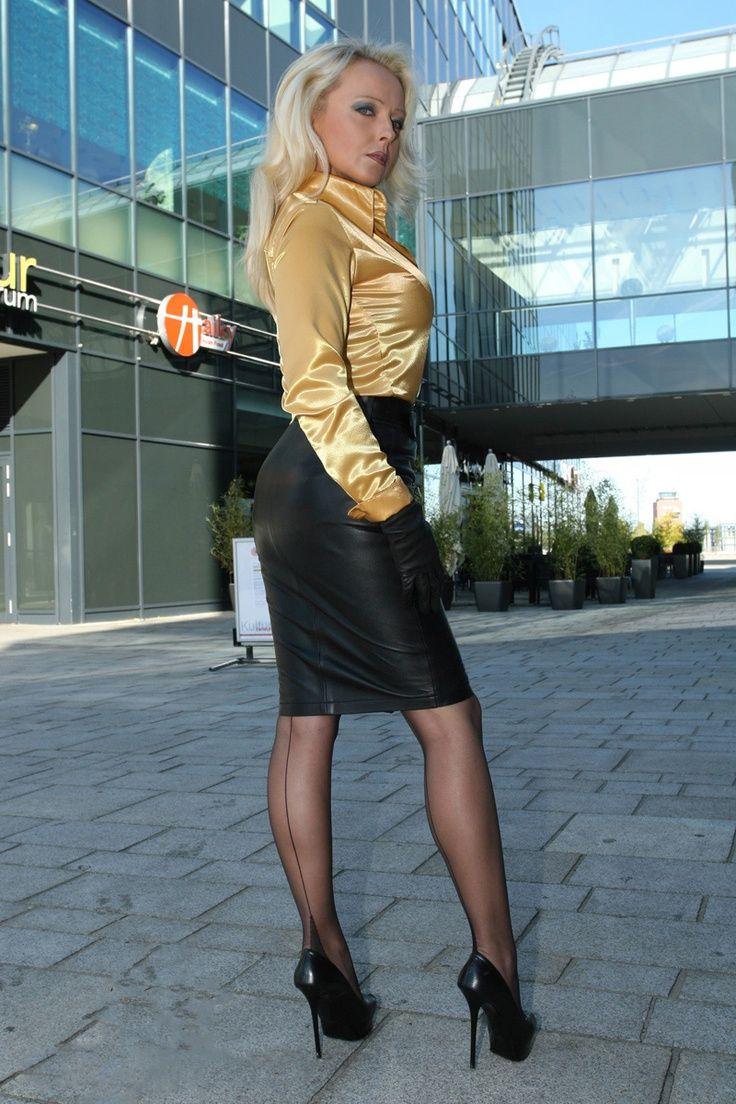 black leather pencil skirt gold satin blouse sheer black