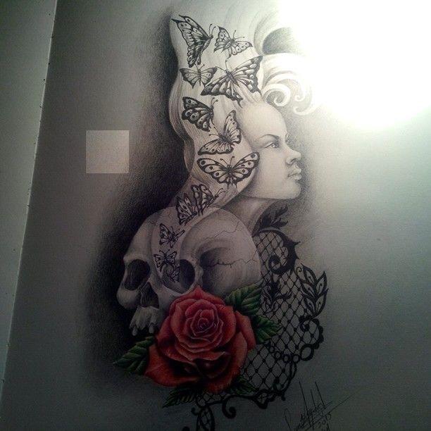 Skull,rose and girl drawing
