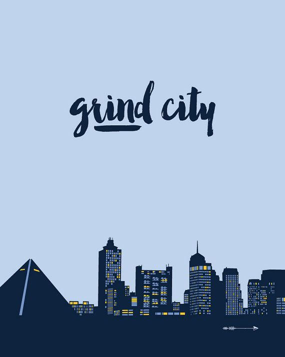 Grind City Memphis Tennessee city skyline with pyramid by getARCHd