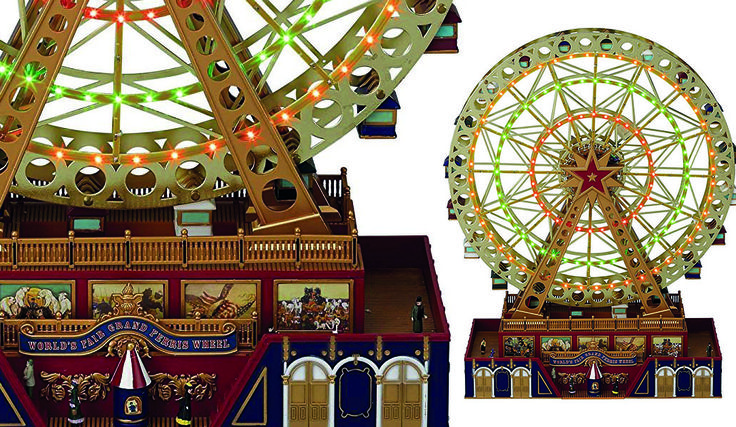 A magical World's Fair miniature Christmas Ferris wheel that plays 25 Christmas carols and 25 all year classics. A decorative piece to display all year.