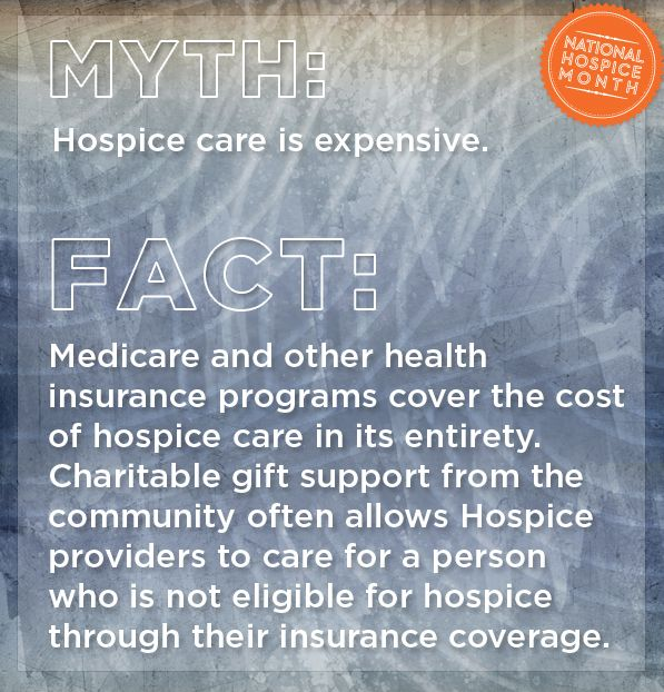 Medicare and other health insurance programs cover the cost of hospice care in its entirety. Charitable gift support from the community often allows Hospice providers to care for a person who is not eligible for hospice through their insurance coverage. #nationalhospicemonth