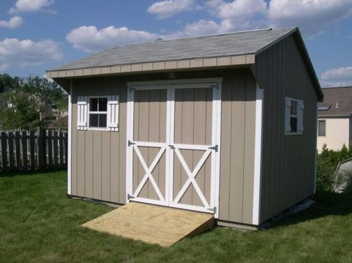 10x12 quaker shed with painted t1 11 siding sheds for Sheds storage buildings