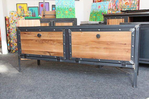 Schrank Sideboard Industriedesign Fernsehschrank Regal Stahl Eiche Decor Furniture Storage
