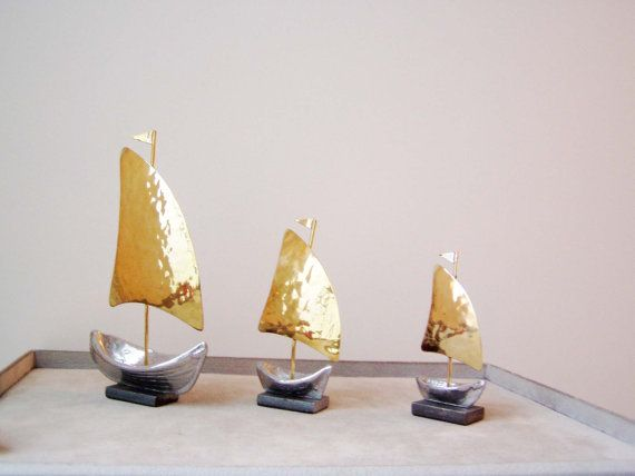 Three sailboat sculptures large medium and small by ArktosArt